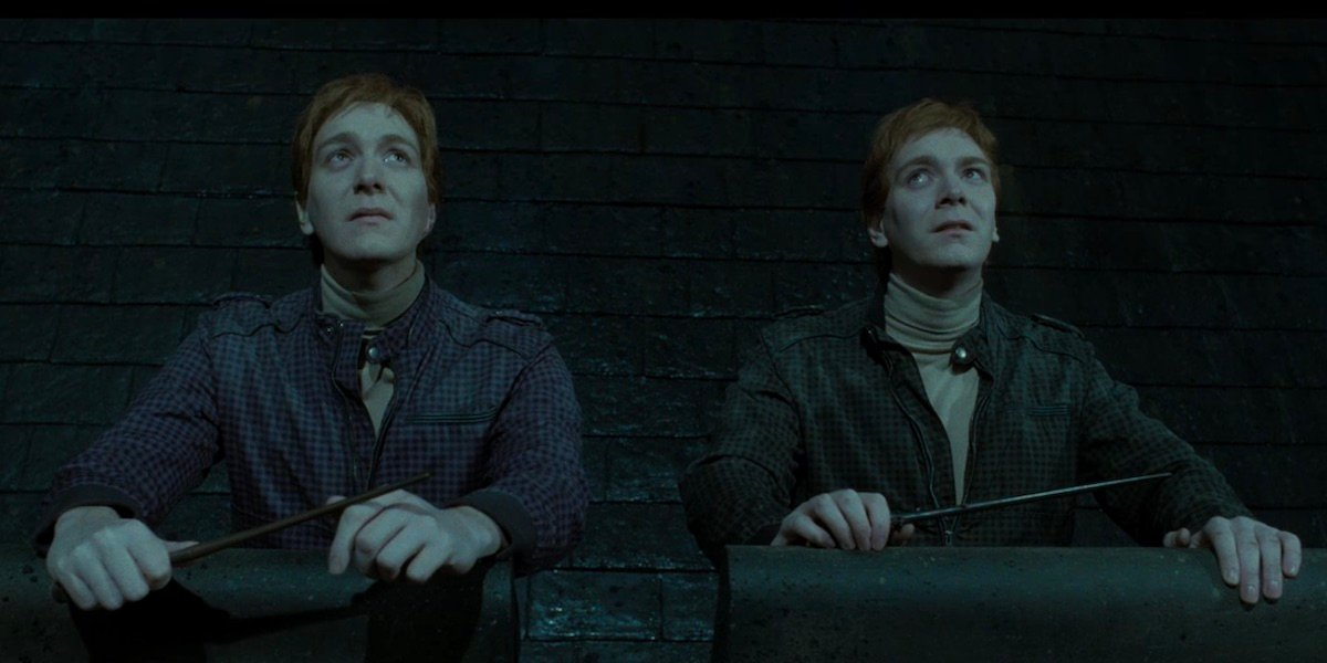 George and Fred Weasley in Harry Potter and the Deathly Hallows Part 2