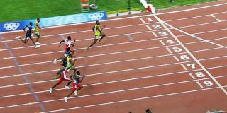 Usain Bolt winning the 100 m final 2008 Olympics.