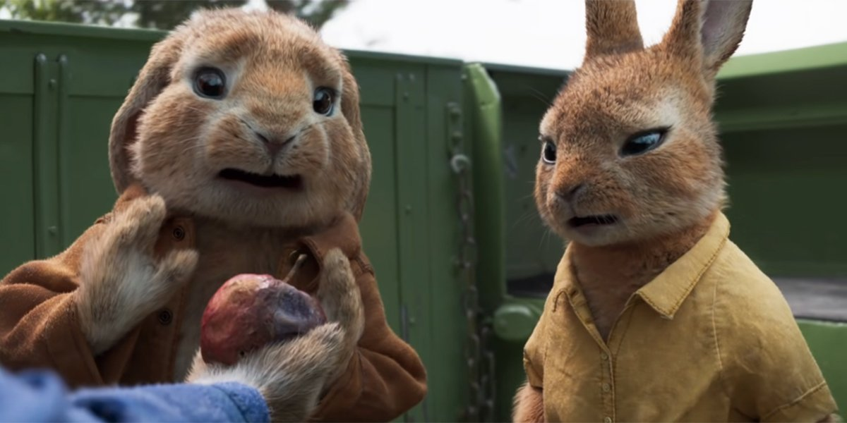 Two rabbits rejecting some rotten fruit in Peter Rabbit 2