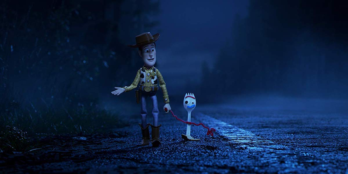 Tom Hanks and tony Hale as Woody and forky in Toy Story 4