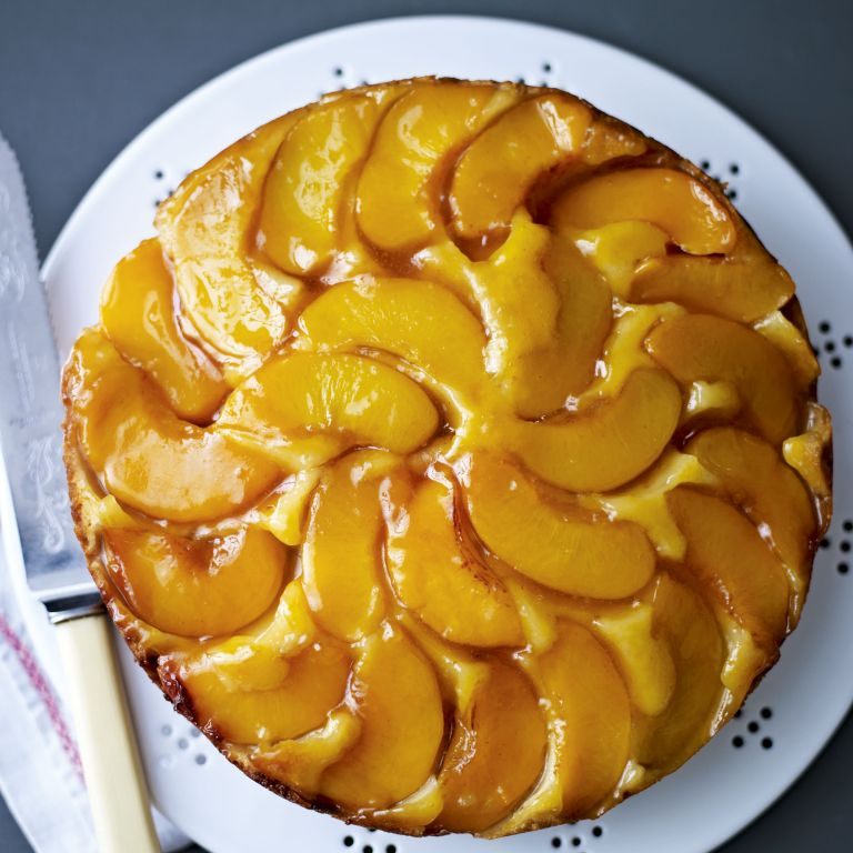 peach and marzipan cake-baking-woman and home