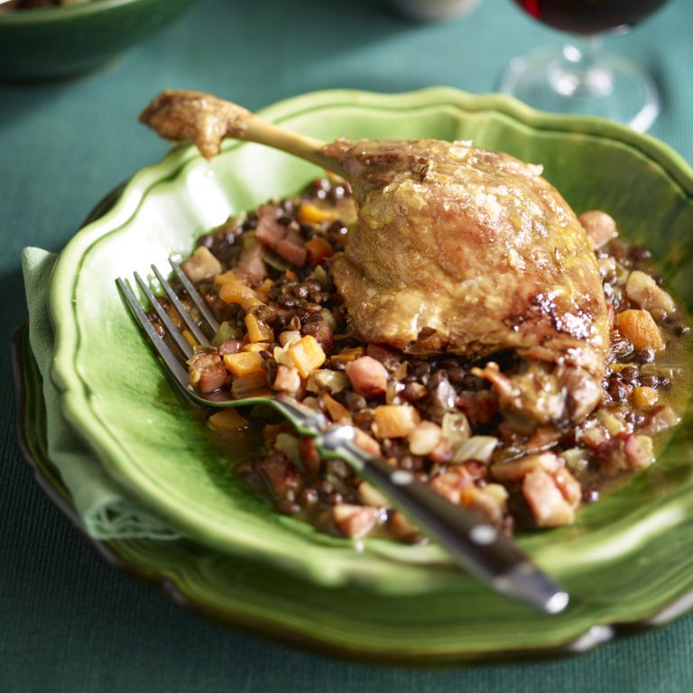 Duck Confit With Pancetta Lentils