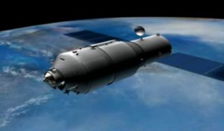 This artist's illustration from a China space agency video shows the Tiangong 1 space laboratory.