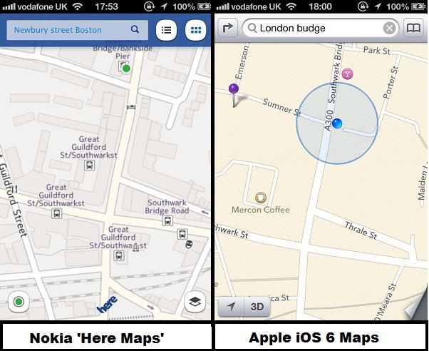 Apple iOS 6 Maps roundup: Google Maps latest & Nokia Here hands-on