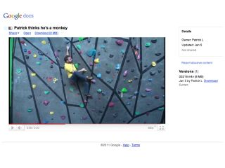 Video playback is now available in Google Docs