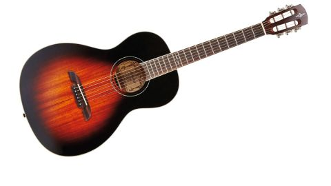 It certainly has a vibe, with a solid African mahogany top, deep Vintage Sunburst, cream binding and abalone ring
