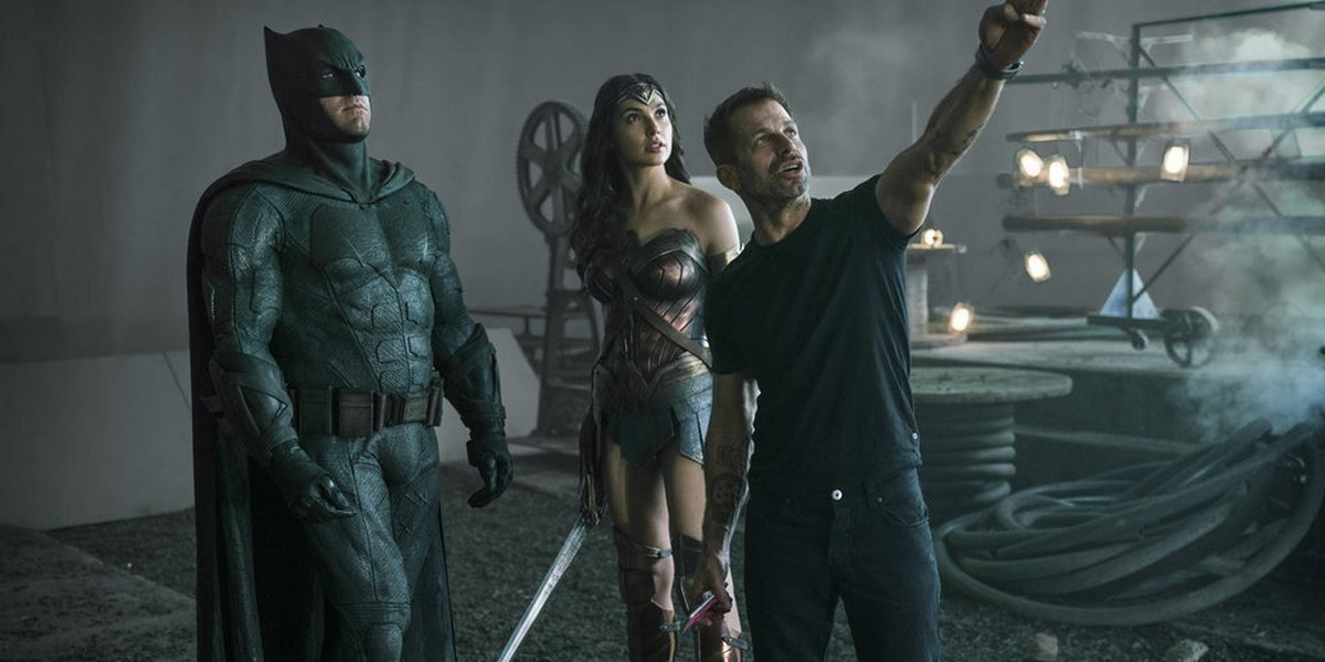 Zack Snyder on the set of Justice League with Ben Affleck and Gal Gadot