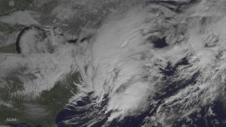 The GOES East weather satellite watches a winter storm over the Northeast United States on Feb. 9, 2017.