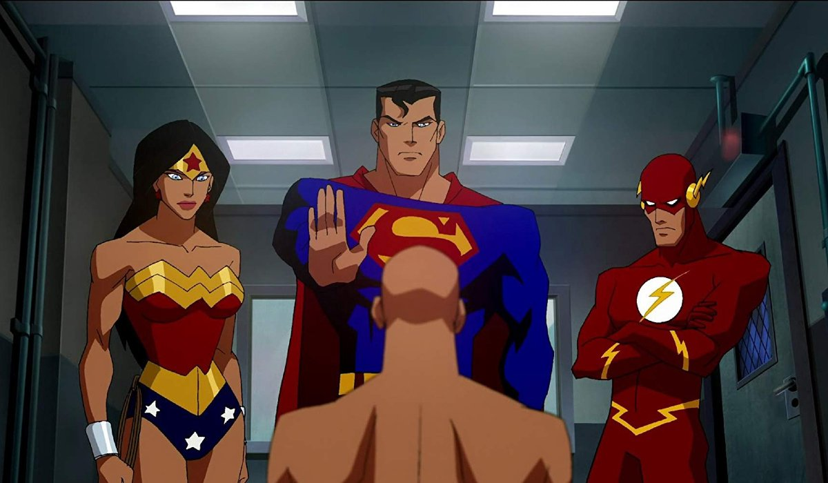 Justice League: Crisis On Two Earths Wonder Woman, Superman, and The Flash in an interrogation