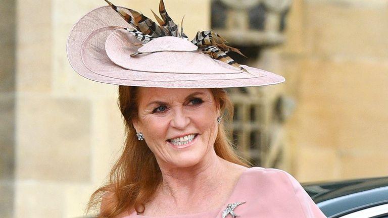 Sarah Ferguson, Duchess of York attends the wedding of Lady Gabriella Windsor and Thomas Kingston