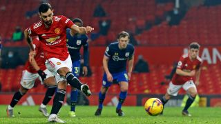 How to watch Manchester United in the Premier League - Manchester United midfielder Bruno Fernandes shoots to score their seventh goal against Southampton in Feb 2021