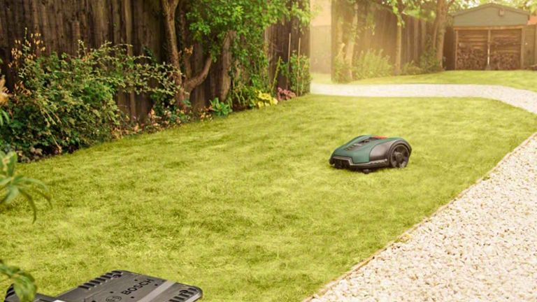 Bosch Robotic Lawnmower in use on grass