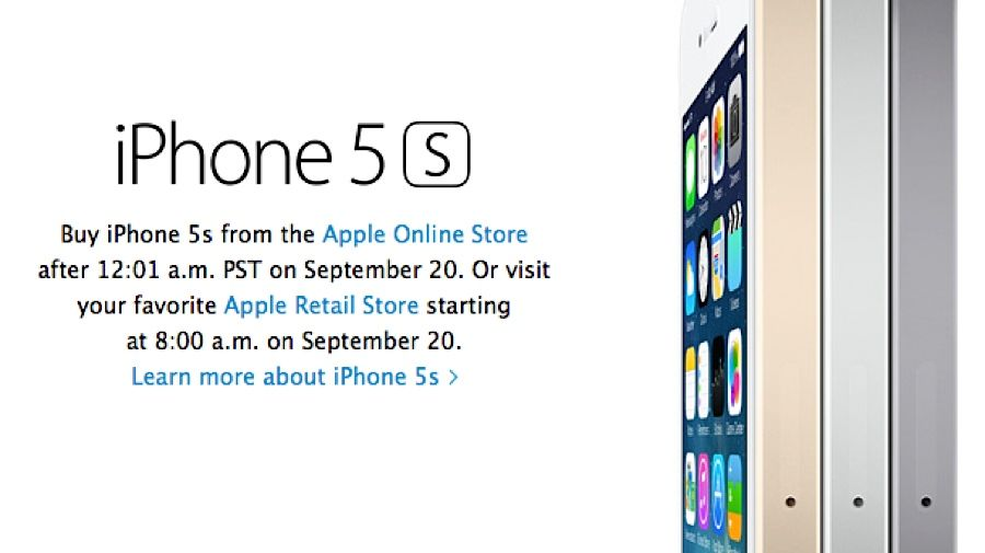 iPhone 5S online orders kick off at 12:01 a.m. PT on Sept. 20