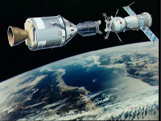 Image result for In July 1975, Leonov commanded the Soyuz capsule in the Soyuz–Apollo mission, which docked in space for two days with an American Apollo capsule.