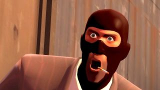 Team Fortress Spy being shocked