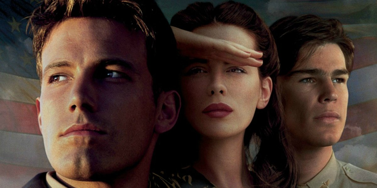 Ben Affleck, Kate Beckinsale, and Josh Hartnett lined up on the poster for Pearl Harbor.