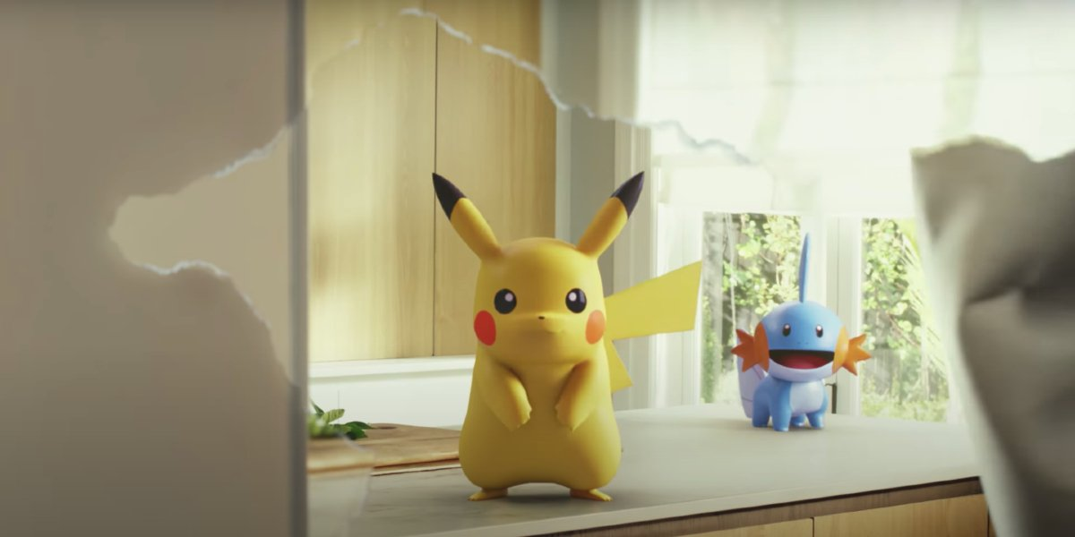Pokemon Go Pikachu and Mudkip waiting for a trainer
