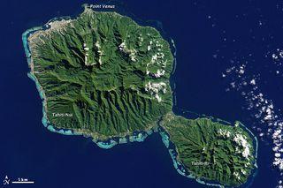 A satellite image of Tahiti.