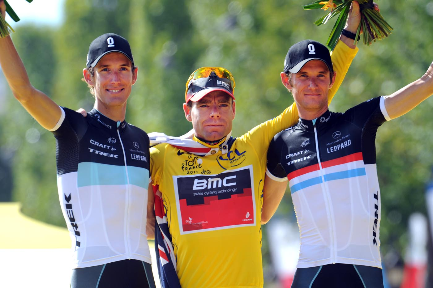 Evans and Schlecks on final podium, Tour de France 2011, stage 21