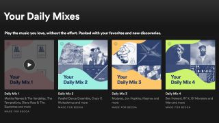 A screenshot of the daily mix section of spotify