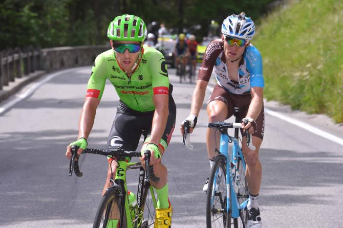 Michael Woods (Cannondale-Drapac) on the attack with Jan Bakelants (AG2R)