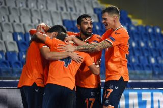 Istanbul Basaksehir celebrate their win over Manchester United