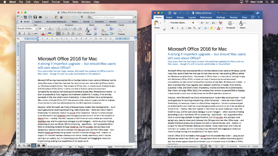 Microsoft Office 2011 for Mac vs Office 2016 for Mac | TechRadar