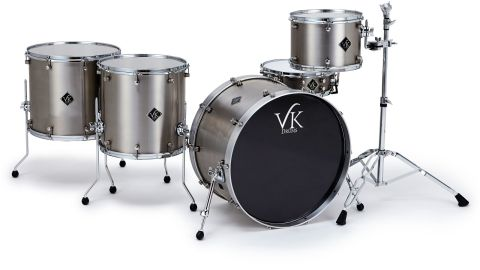 The toms and bass drum are formed from 1.5mm-thick sheets of stainless steel