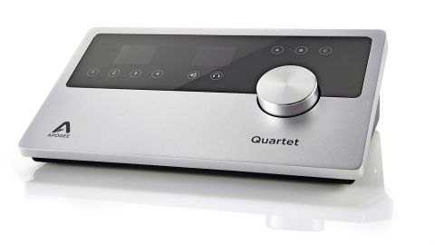 The Quartet interface is an attractively designed desktop wedge which features four high-quality Apogee analogue XLR inputs
