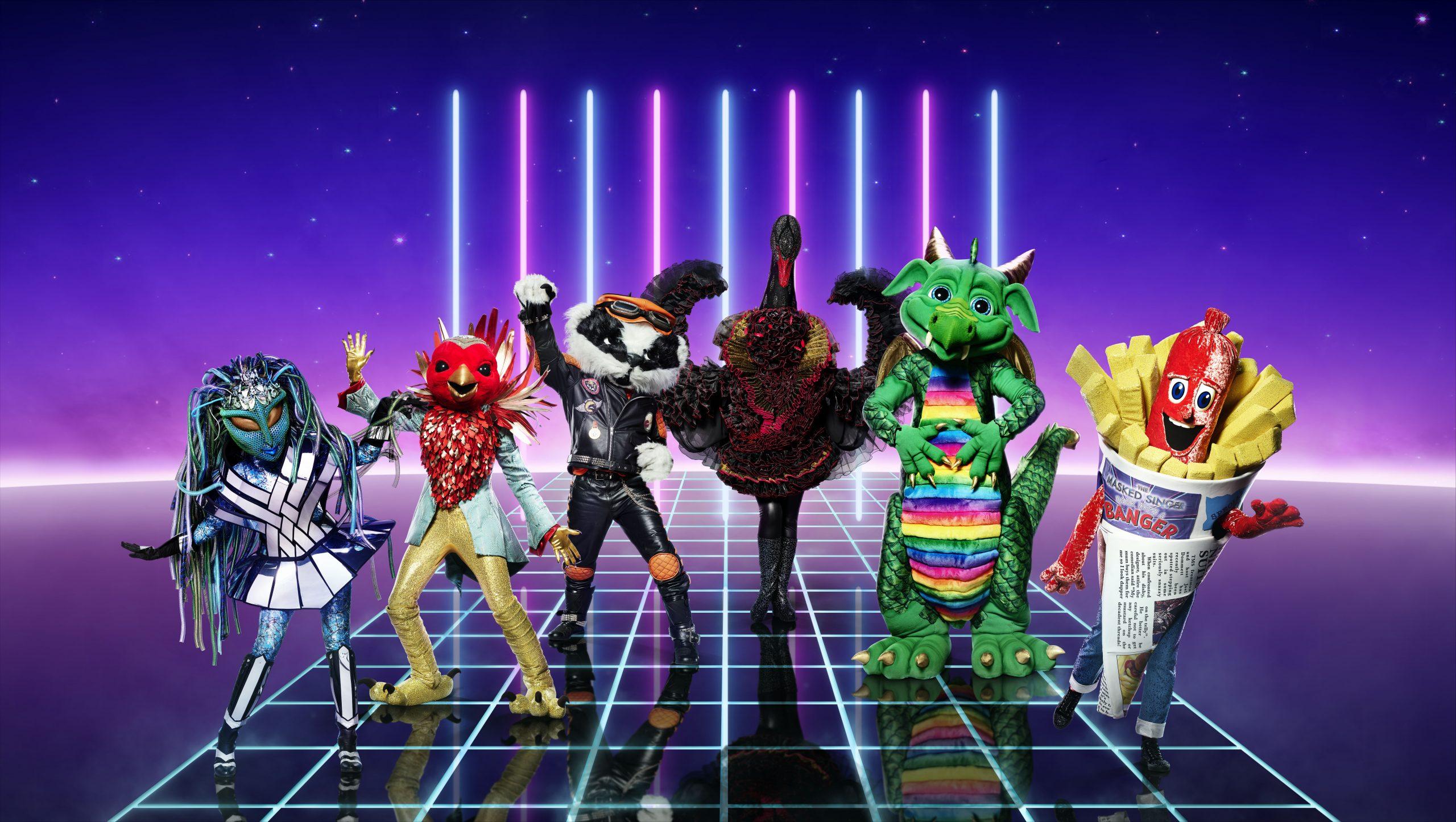 Masked Singer costumes Alien, Robin, Badger, Swan, Dragon and Sausage