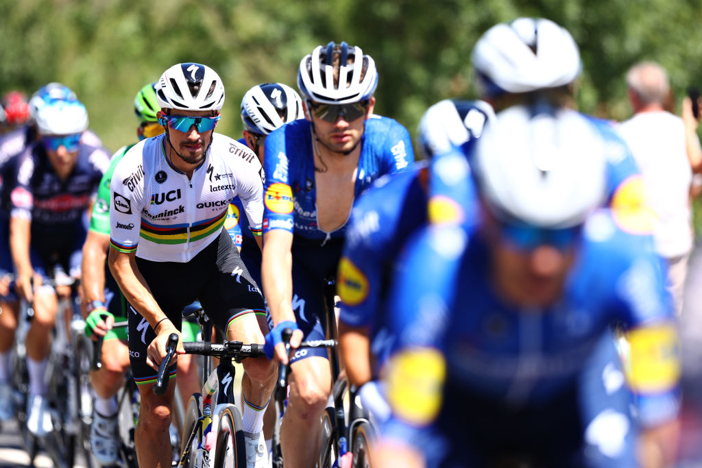 CARCASSONNE FRANCE JULY 09 Julian Alaphilippe of France and Team Deceuninck QuickStep during the 108th Tour de France 2021 Stage 13 a 2199km stage from Nmes to Carcassonne LeTour TDF2021 on July 09 2021 in Carcassonne France Photo by Michael SteeleGetty Images
