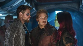 Thor, Star-Lord and Gamora in an image from Avengers: Infinity War