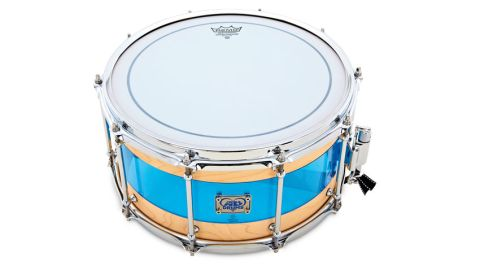 This maple/acrylic hybrid is an intriguing drum with several eye-catching, not least the acrylic insert