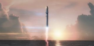 llustration of SpaceX's Mars booster and spacecraft launch