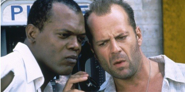 Samuel L. Jackson, left, and Bruce Willis in Die Hard with a Vengeance