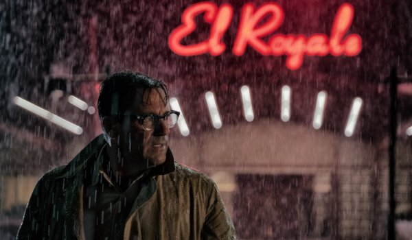 Bad TImes At The El Royale Jon Hamm looking concerned and shady on a rainy night