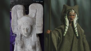 "Farmers found the 500-year-old statue of mysterious woman (left), who has a headdress that looks like the head ornamentation of ""Star Wars"" former Jedi apprentice Ahsoka Tano (right), whose Hasbro action figure is shown here."