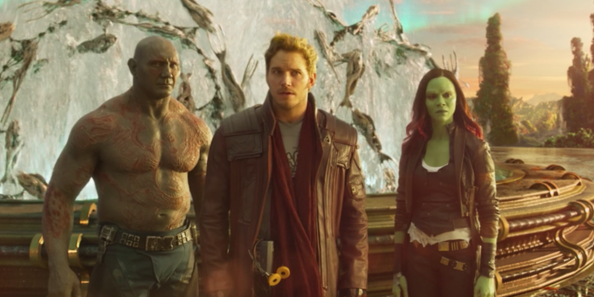Drax, Peter, and Gamora in Guardians 2