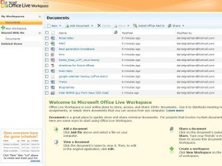 Microsoft Office Live Workspace, part of the Equipt package