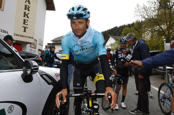 Michele Scarponi smiles after a stage at the Tour of the Alps