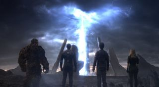 Still of Jamie Bell, Dan Castellaneta, Michael B. Jordan, Kate Mara and Miles Teller in Fantastic Four (2015).