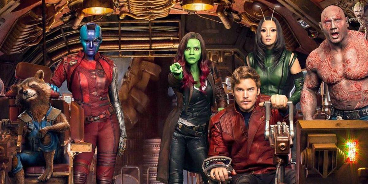 A Guardians of the Galaxy Vol. 2 promotional image shows Rocket, Nebula, Gamora, Star Lord, Mantis,