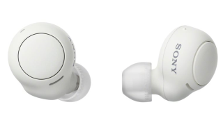 A white pair of Sony WF-C500 wireless earbuds