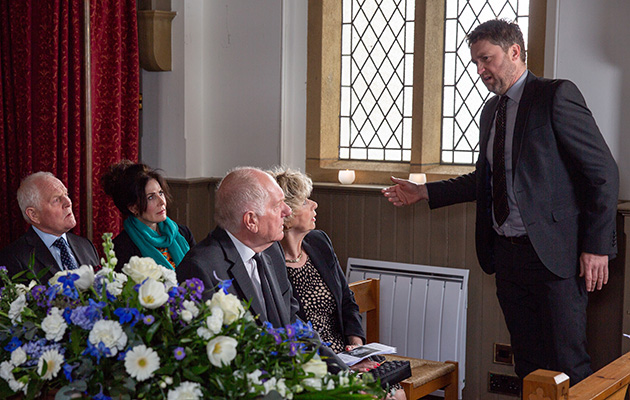 Emmerdale spoilers! Doug Potts is left high and dry when Gerry's uncle Terry walks out of the funeral