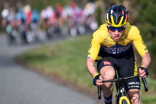 TOPSHOT Team Jumbo rider Slovenias Primoz Roglic rides in a breakaway during the 4th stage of the 79th Paris Nice cycling race 1875 km between ChalonsurSaone and Chiroubles on March 10 2021 Photo by AnneChristine POUJOULAT AFP Photo by ANNECHRISTINE POUJOULATAFP via Getty Images