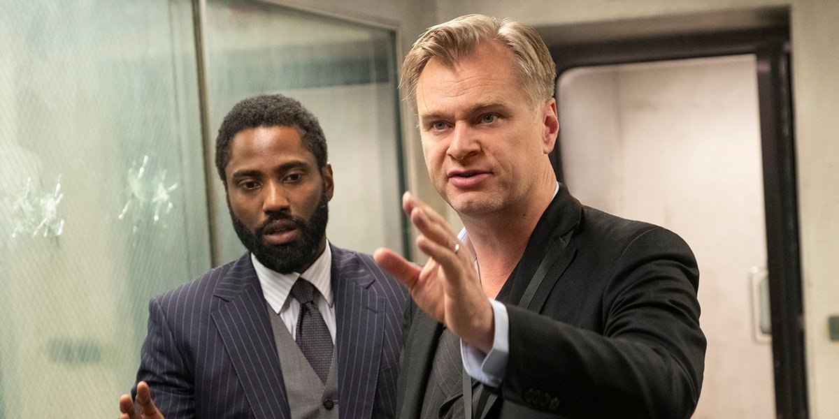 John David Washington and Christopher Nolan