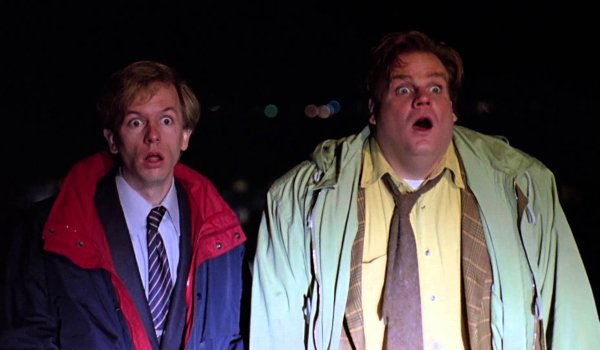 Tommy Boy David Spade and Chris Farley look on in shock