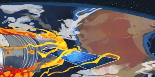 China's Tiangong-1 space lab re-entry art