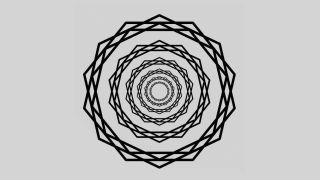 """The new """"scintillating starburst"""" illusion, bright rays emanate from the centre of the design through concentric wreaths of star-polygons."""