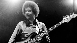 Billy Cox performs with the Jimi Hendrix Experience at the Isle of Wight Festival, August 1970